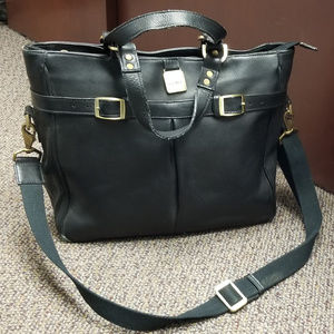 CLAVA Vachetta Black Leather Pleated Buckle Tote